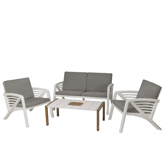 Salon de jardin Sunday + coussins + table basse