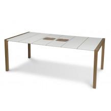Table Sunday 190 cm Blanc Glacier joints Lin + Planche à découper Bois