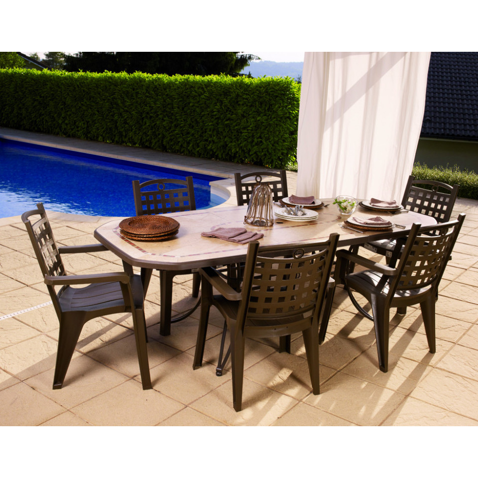 Table de jardin Amalfi 220 cm Bronze