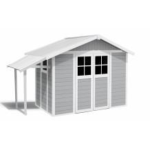 Abri de jardin Lodge Déco 7,5 m² gris clair avec auvent