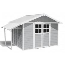 Abri de jardin Lodge 11 m² gris clair avec auvent