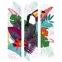 Cadre décoratif mural Toucan colour