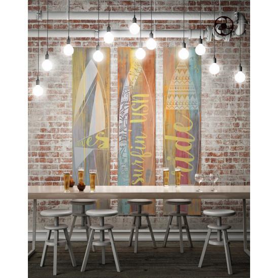 Cadre décoratif mural Surf bois fluo