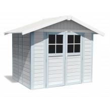 Abri de jardin Déco 4,9 m² blanc - gris_bleu