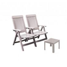 Lot 2 fauteuils Fidji dossier réglable + table basse Miami