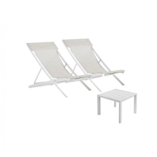 Lot 2 transats Sunset toile beige + 1 table basse Sunset 50 cm x 50 cm blanc