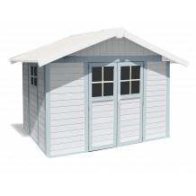 Abri de jardin Déco 7,5 m² blanc - gris_bleu
