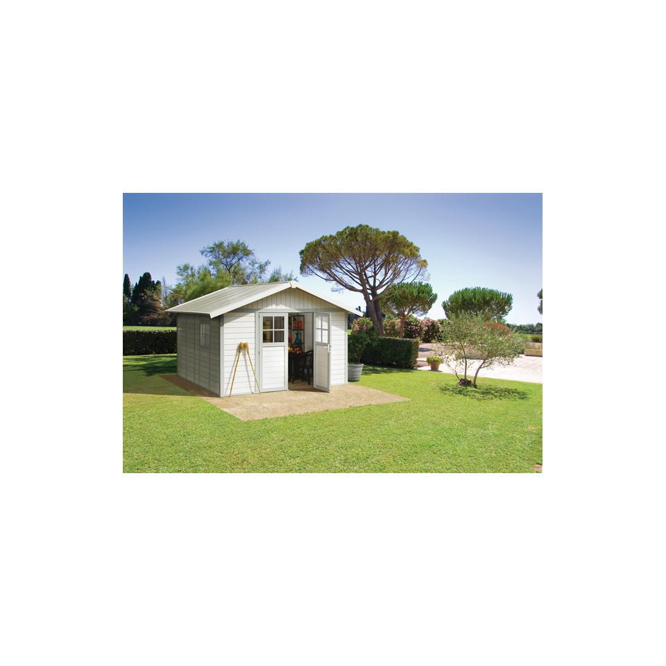 Abri de jardin Déco 11 m² blanc-gris_vert