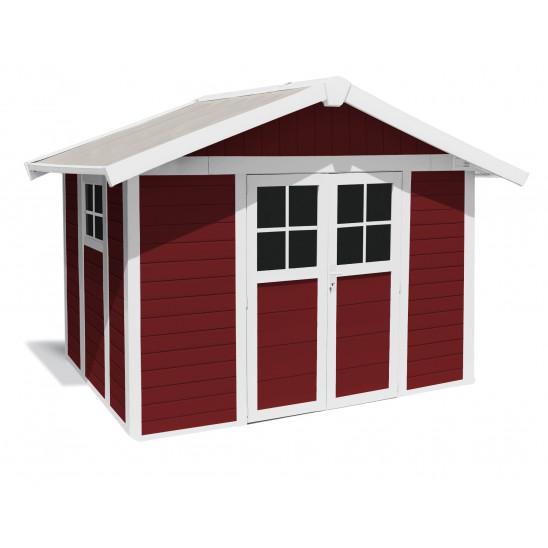 Abri de jardin Déco 7,5 m² PMMA rouge