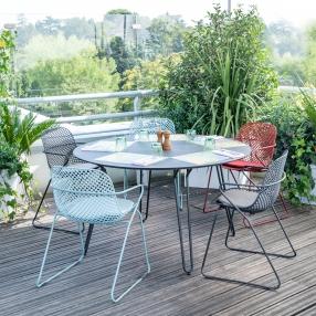 table ronde extérieur table ronde de jardin table ronde bi matériaux table dînatoire